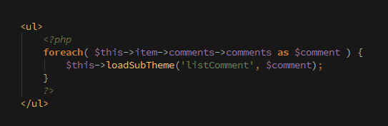 comment sub theme code preview