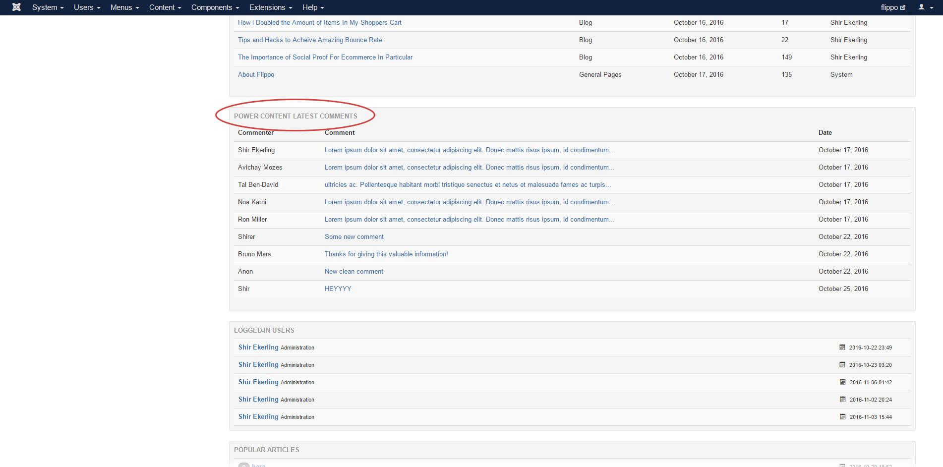 latest comments admin module