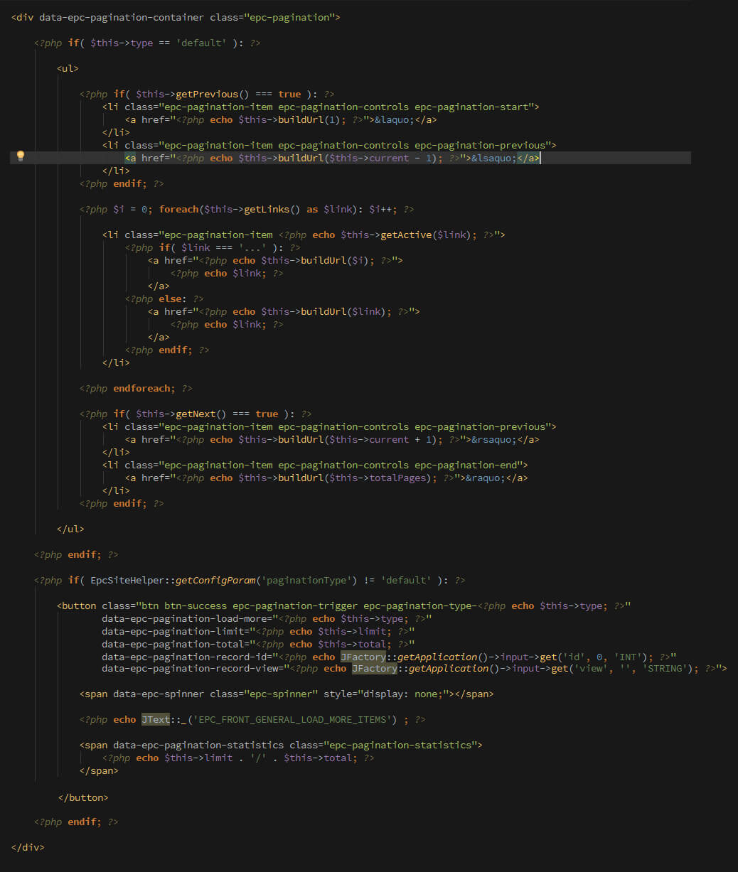 pagination code preview