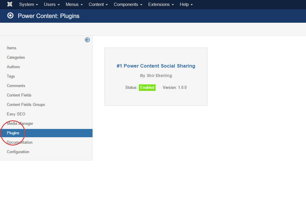 Power Content plugins view