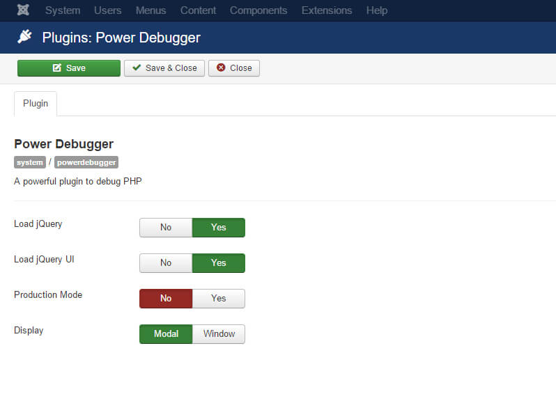 power debugger configuration