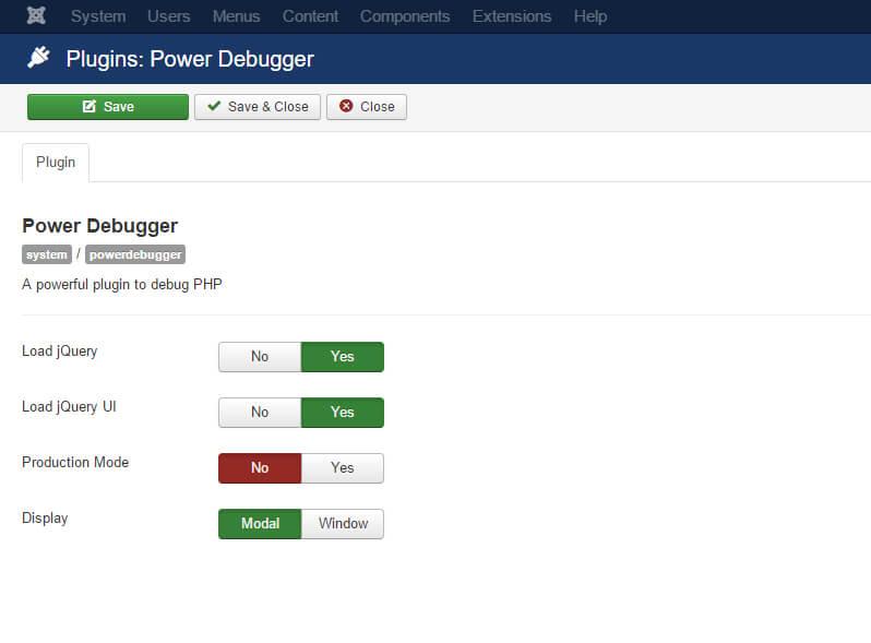 power debugger configuration